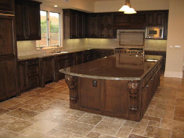 Dark Brown Kitchen Cabinet With Granite Countertops