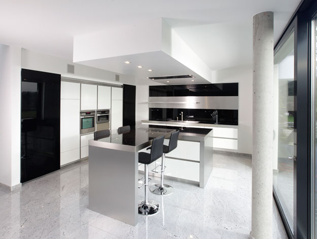 black and white tile kitchen floor