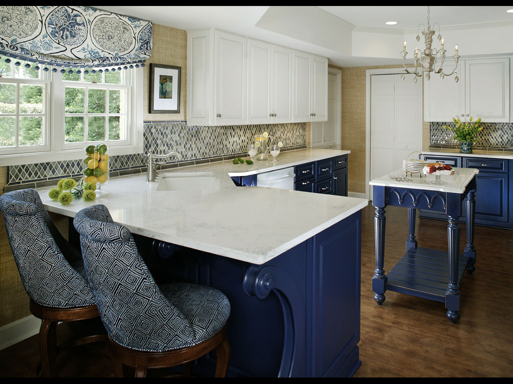 Blue white kitchen designs for White and blue kitchen ideas