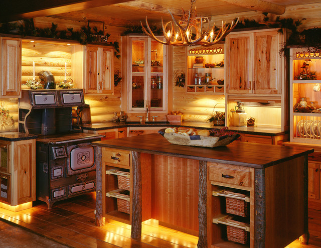 Log Home Kitchen Design Ideas ~ How to pick the right kitchen cabin home and cabinet reviews