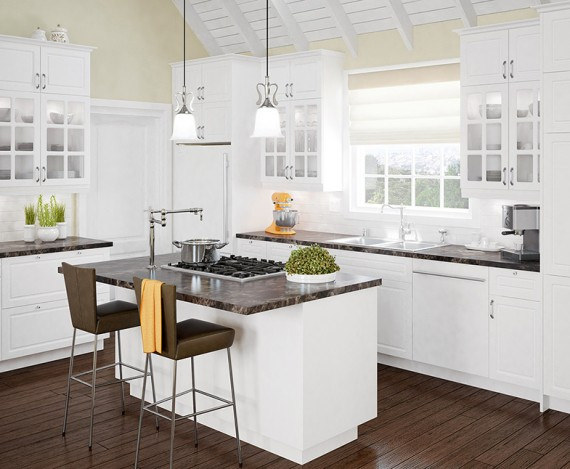 The luxury kitchen with white color cabinets home and for Armoire cuisine home depot