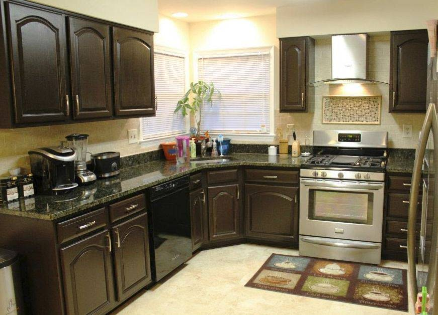 The designs for dark cabinet kitchen home and cabinet for Dark brown kitchen ideas