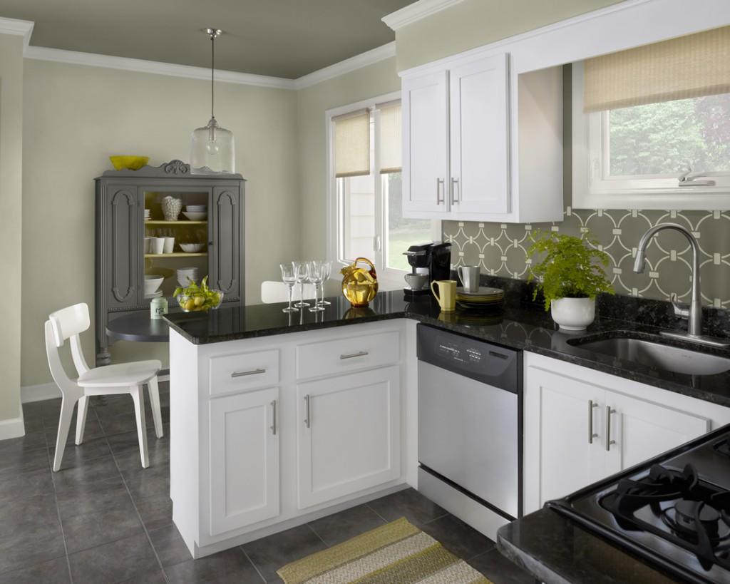 The luxury kitchen with white color cabinets home and for Kitchen wall colors