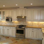 white antiqued cabinets