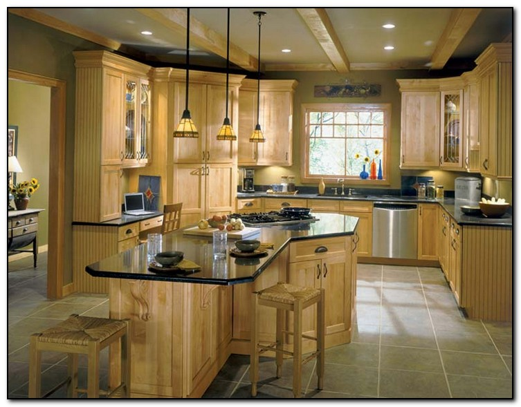 Employing light color theme in kitchen cabinets design for Kitchen color ideas with light brown cabinets