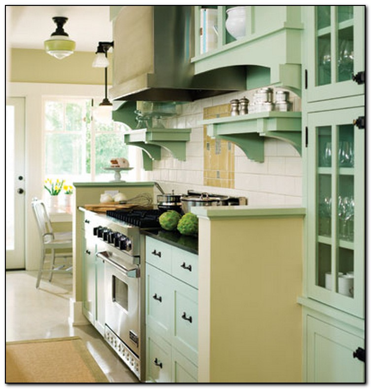 Recommended light green kitchen for you home and cabinet for Green kitchen cabinets