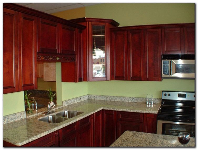 Salmon walls in kitchens cherry cabinet large tile in for Cherry kitchen cabinets wall color