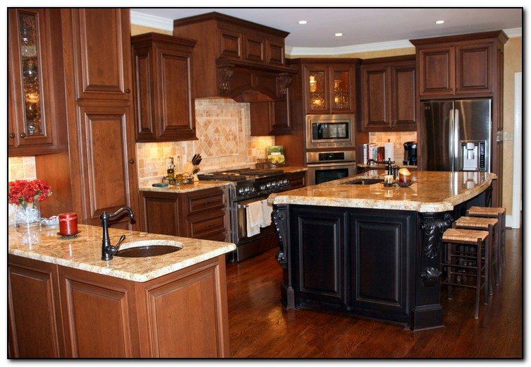 pictures of granite countertops with oak cabinets