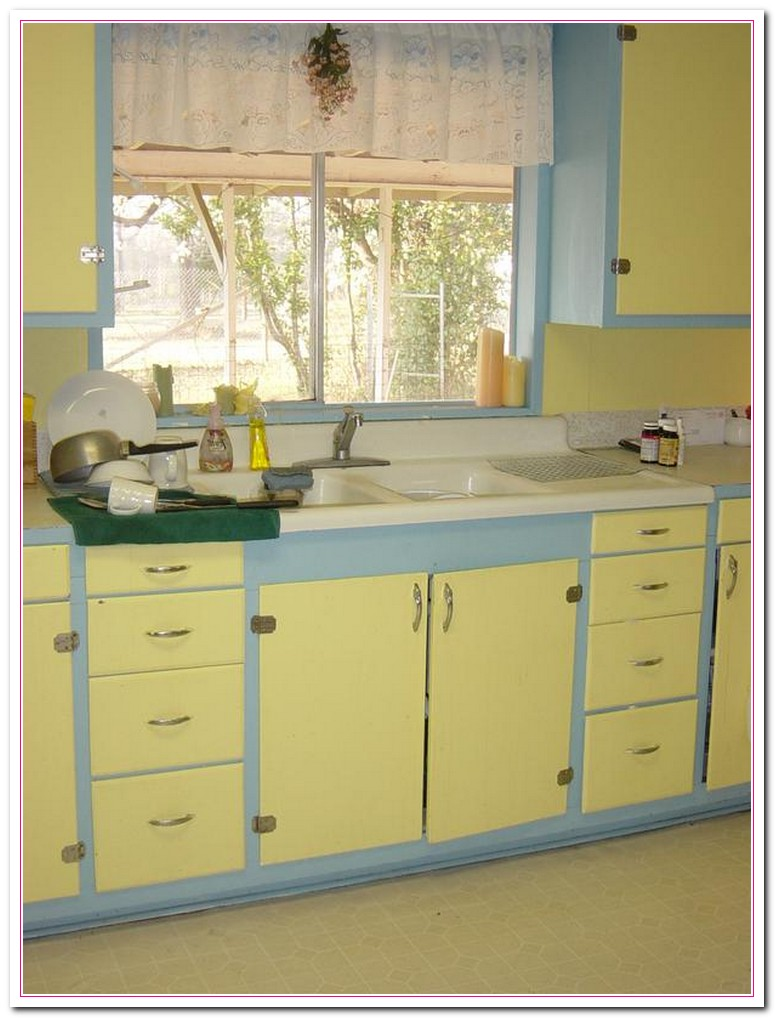 blue kitchen yellow cabinets