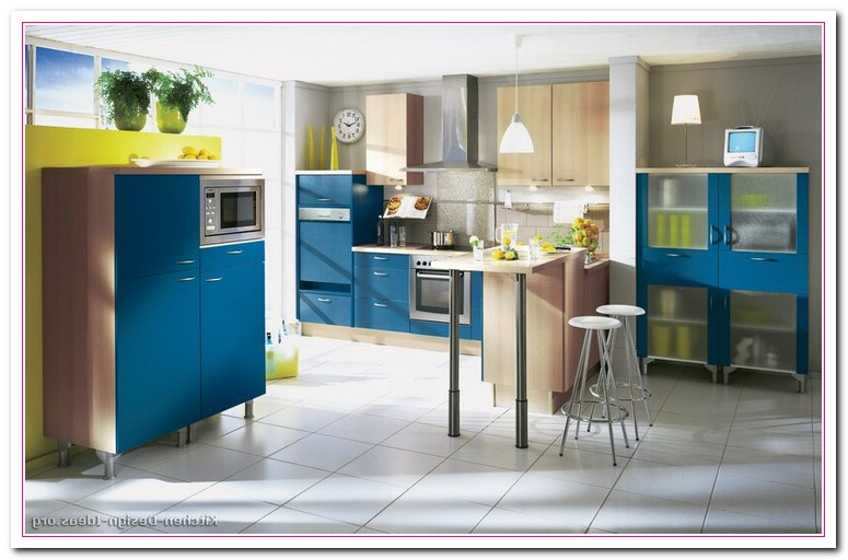 yellow and blue kitchens