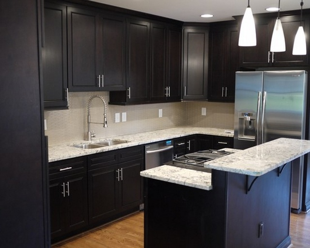 The designs for dark cabinet kitchen home and cabinet for Small kitchen black cabinets