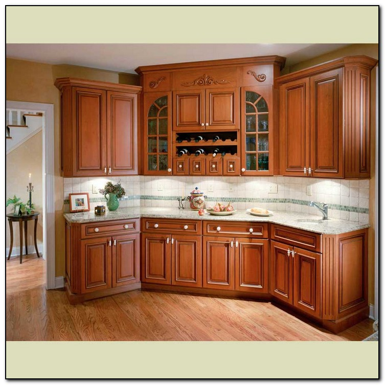 Kitchen color schemes with wood cabinets weifeng furniture for Kitchen cabinet wood colors