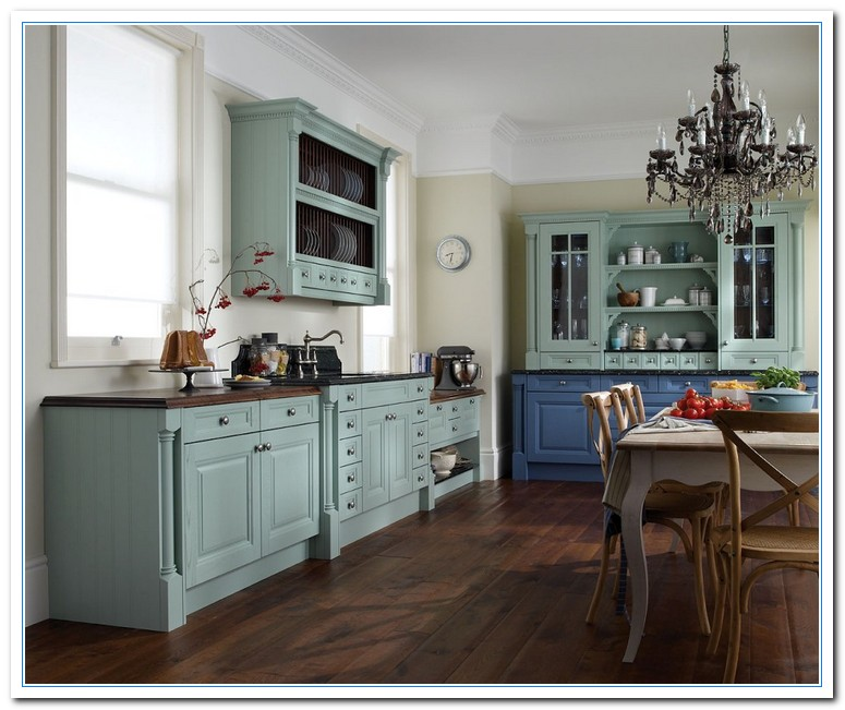 Inspiring painted cabinet colors ideas home and cabinet for Blue kitchen paint ideas