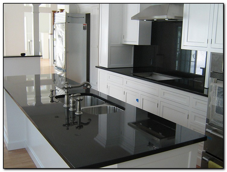 Black Granite Kitchens With Cherry Wood Cabinets