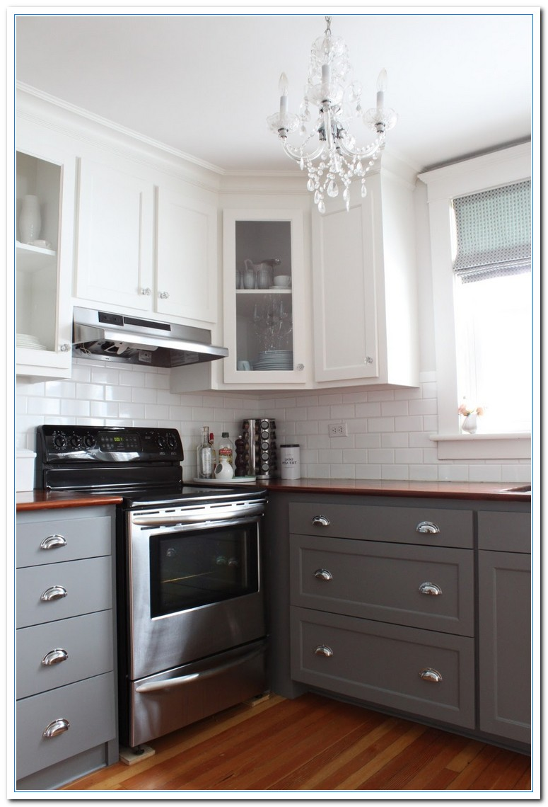 Information on two tone kitchens designs home and for Kitchenette cabinets