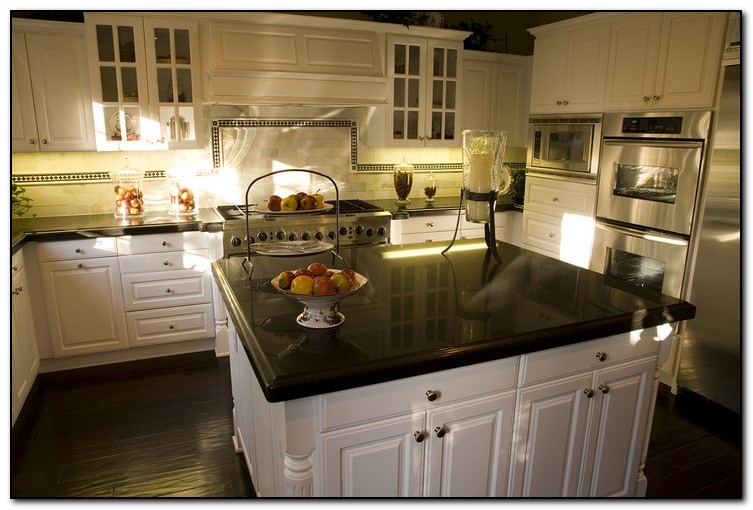 kitchen with black countertops for elegant design home black kitchen cabinets with white marble countertops